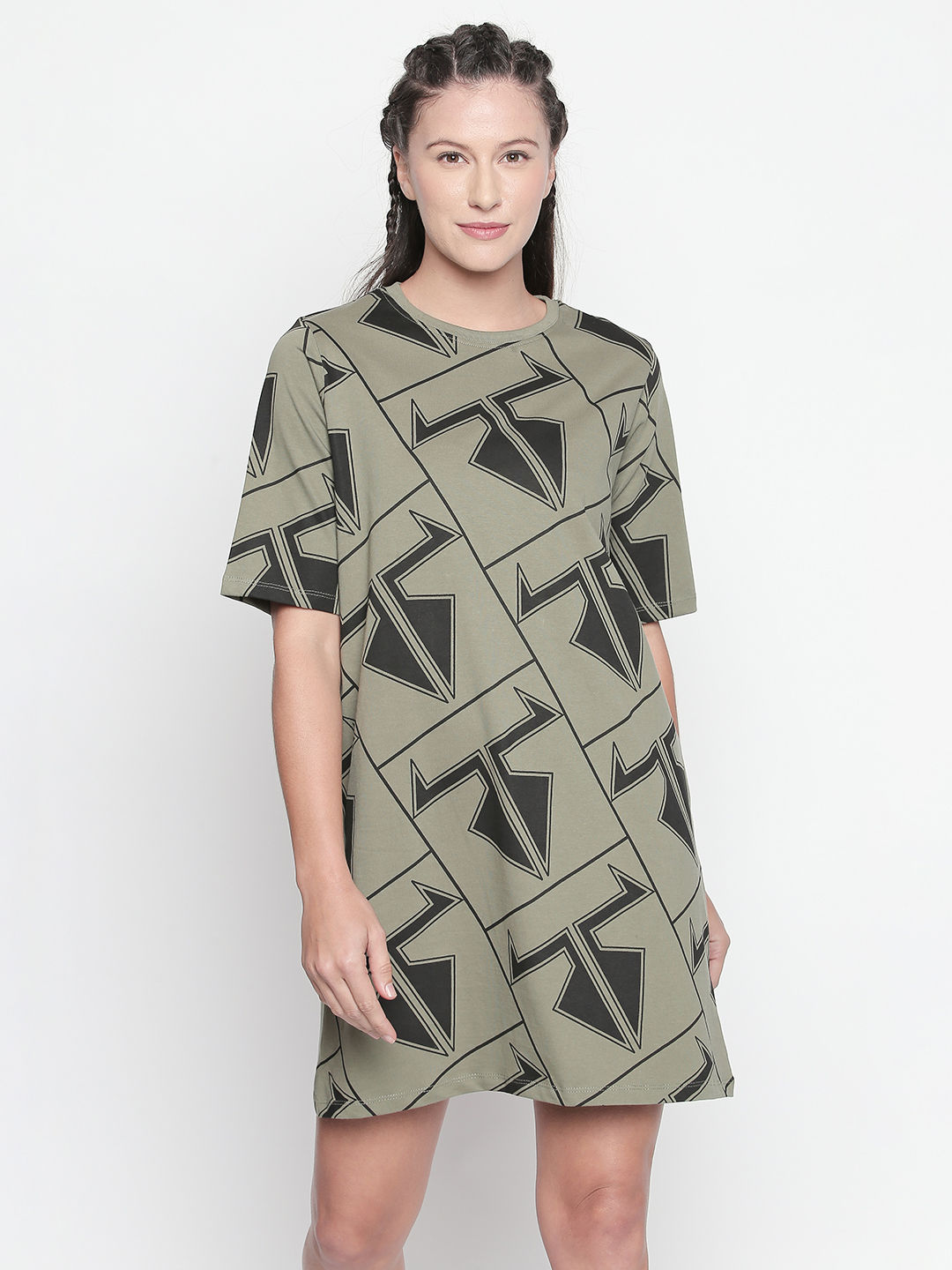 DISRUPT Graphic Print OLIVE DRESS FOR WOMEN'S