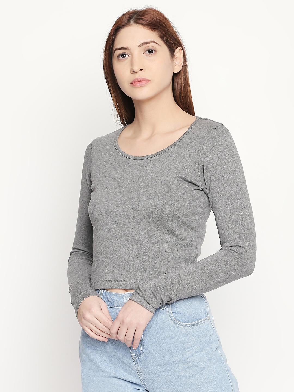 Disrupt Slim- Fit  Grey Melange T-shirt For Women's