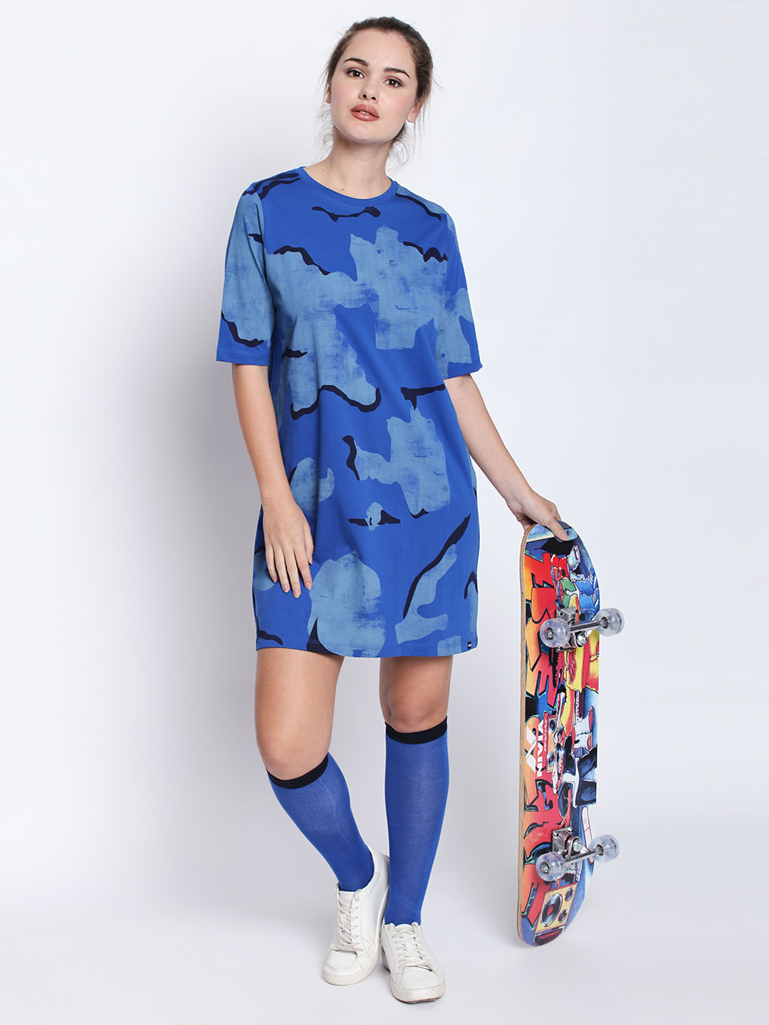 Disrupt R-Blue Cotton Military Camouflage Boyfriend -Fit Dress For Women's