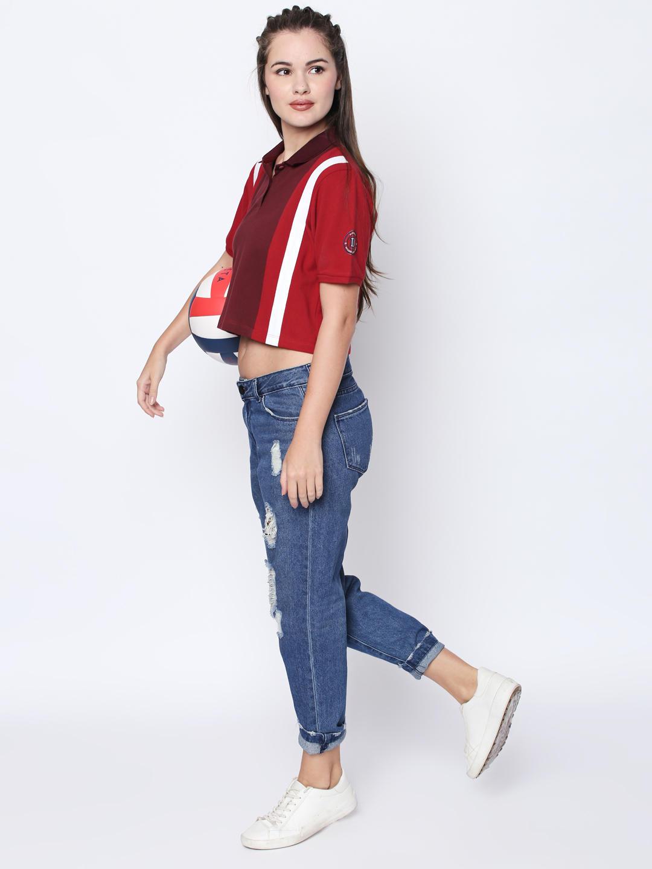 Disrupt Red Cotton Self Design Regular-Fit T-Shirt For Women's