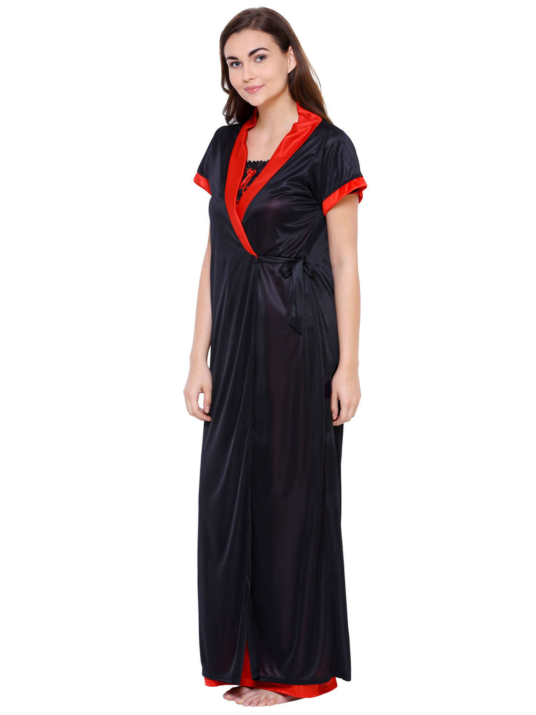 Secret Wish Women's Black Satin Nighty