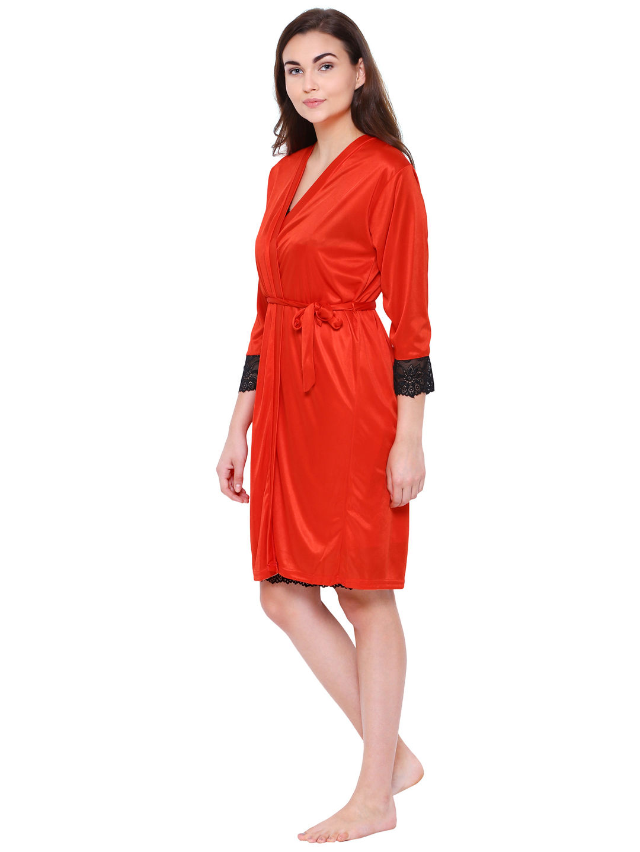 Secret Wish Women's Red Satin Nighty