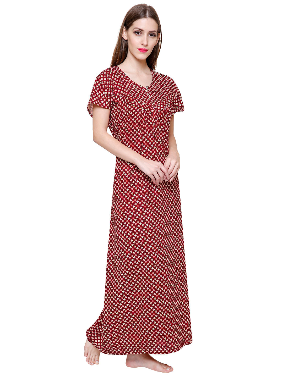 Secret Wish Women's Cotton Maroon Nighty