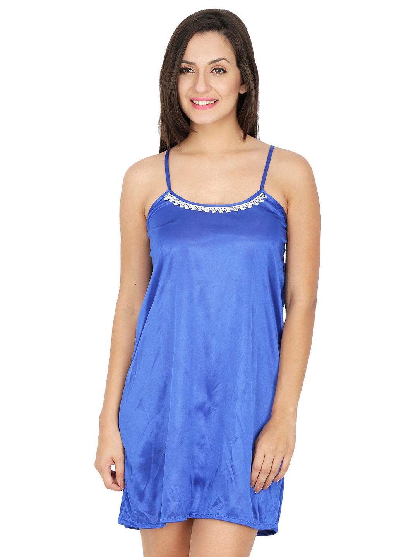 0b05d17a3aa Secret Wish Women s Satin Blue Babydoll Dress (Blue