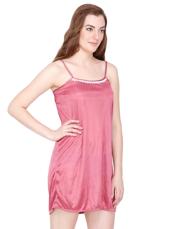 eda4e9795c8 Secret Wish Satin Mauve Babydoll Night Dress