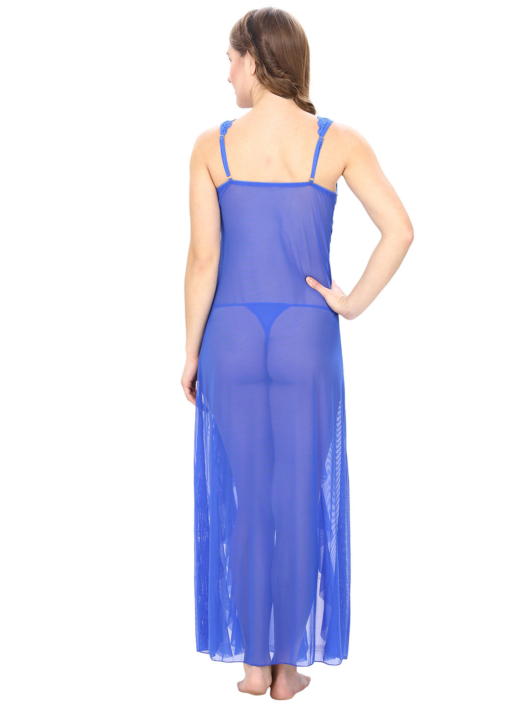 Mesh and Lace Blue Sheer Night Dress with G-String 32b675f65