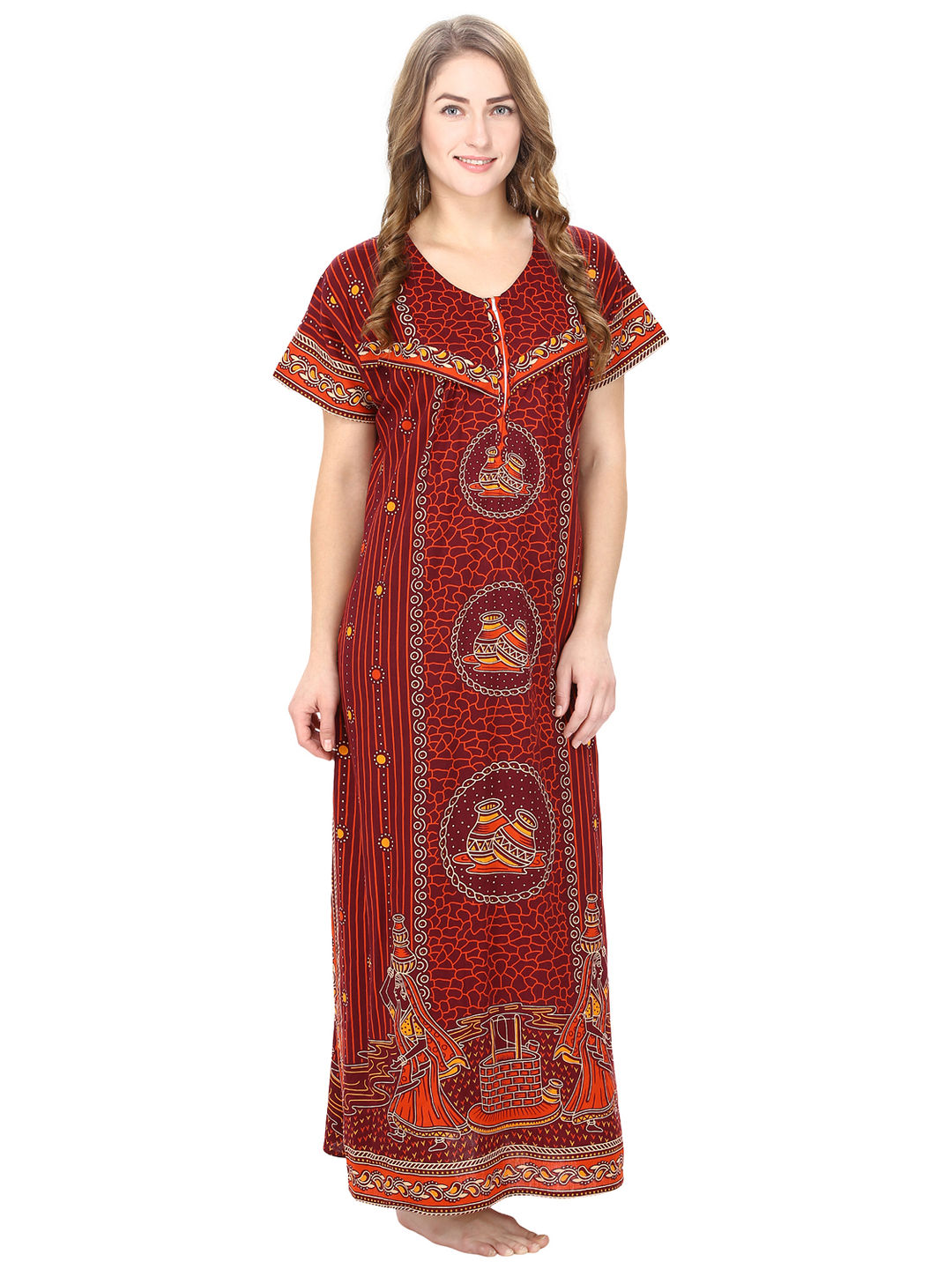 Cotton Maroon Nursing Nighty, Nightdress