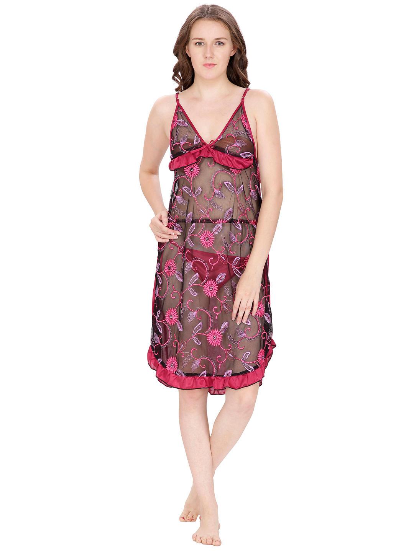 Secret Wish Women's Net, Satin Magenta Babydoll (Red, Free Size)
