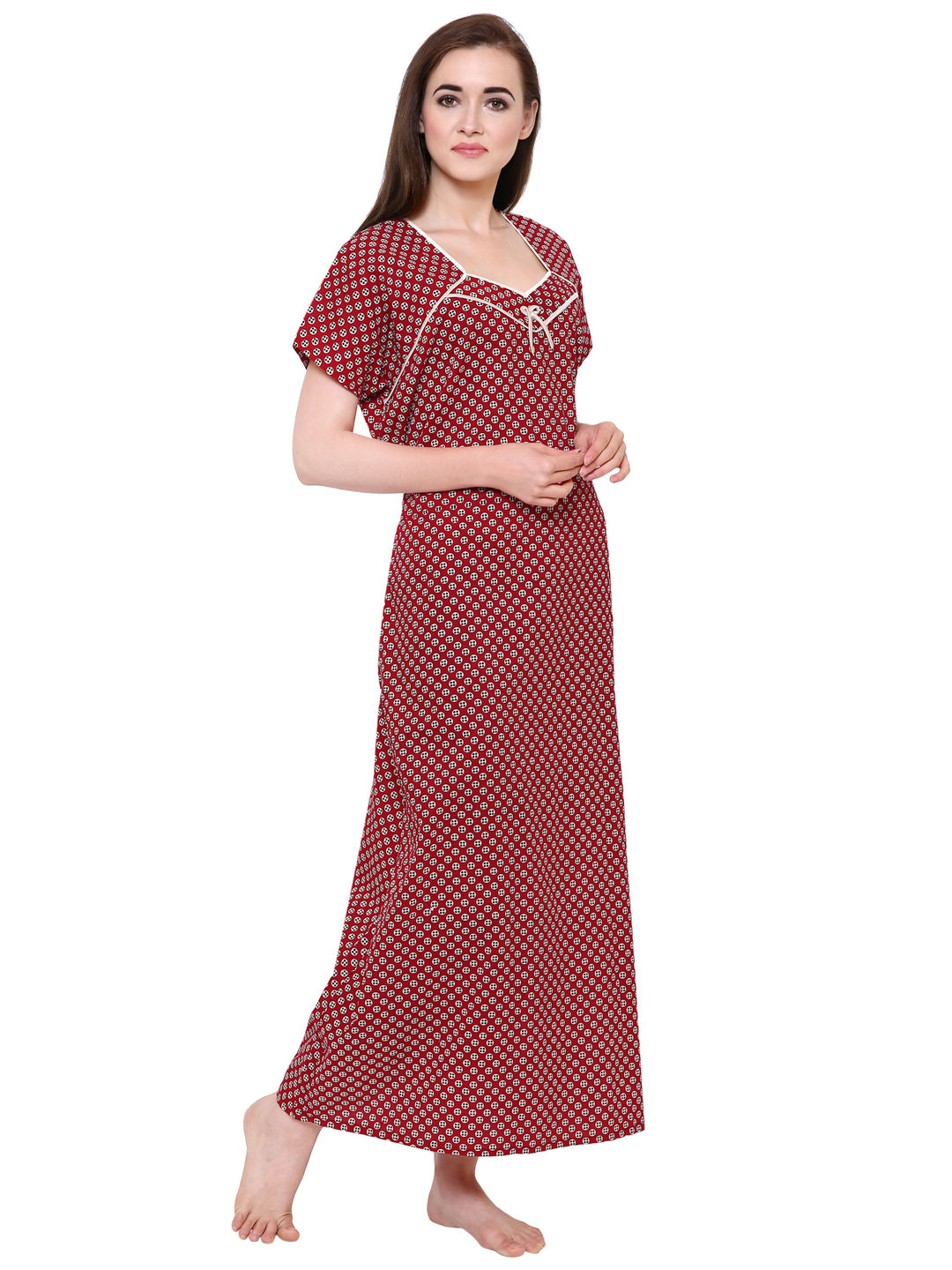 Secret Wish Women's Red Cotton Nighty