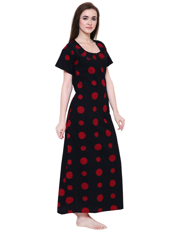 Secret Wish Women's Black Cotton Nighty