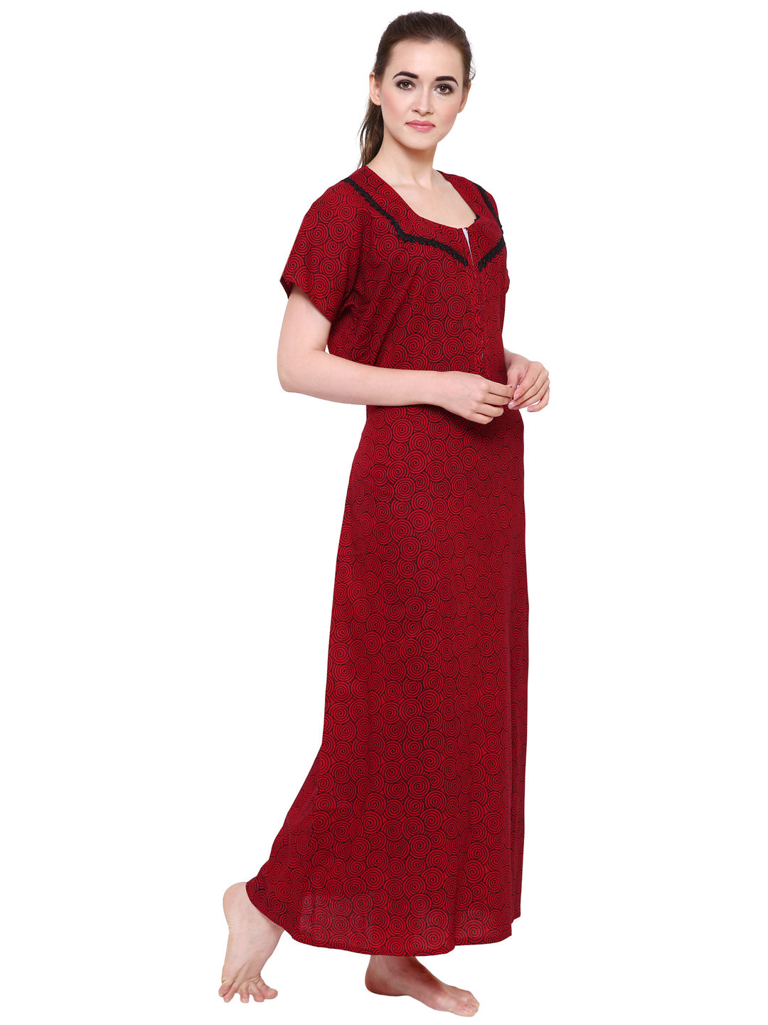 Secret Wish Women's Maroon Cotton Nighty