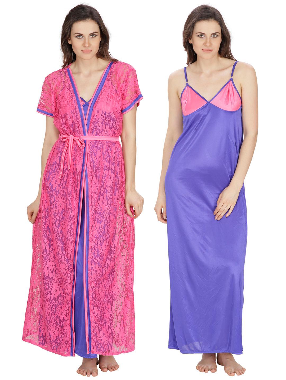 Secret Wish Women\'s Net, Satin Pink, Royal Blue Robe, Nighty (Pink ...