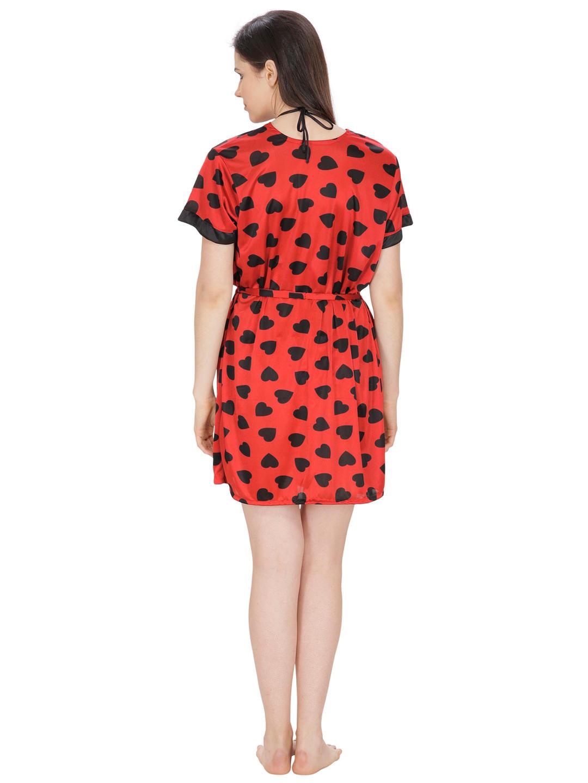 3e1ca3393540 Secret Wish Women's Satin Red Robe, Bra & Panty Set (Red, Free Size)