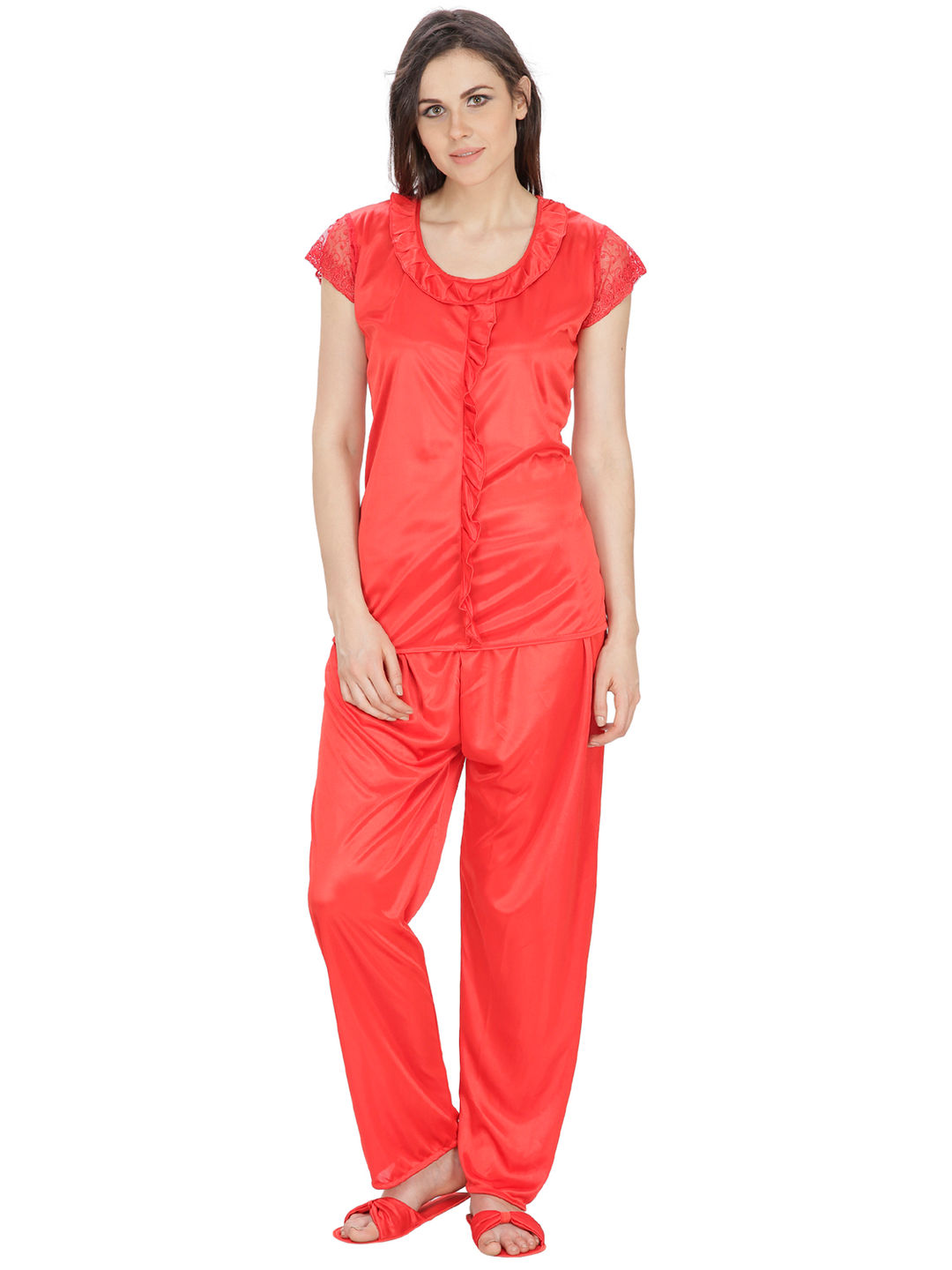 3a9b7c0dab Secret Wish Women's Satin Red Nightsuit Set with Slippers (Red, Free Size)
