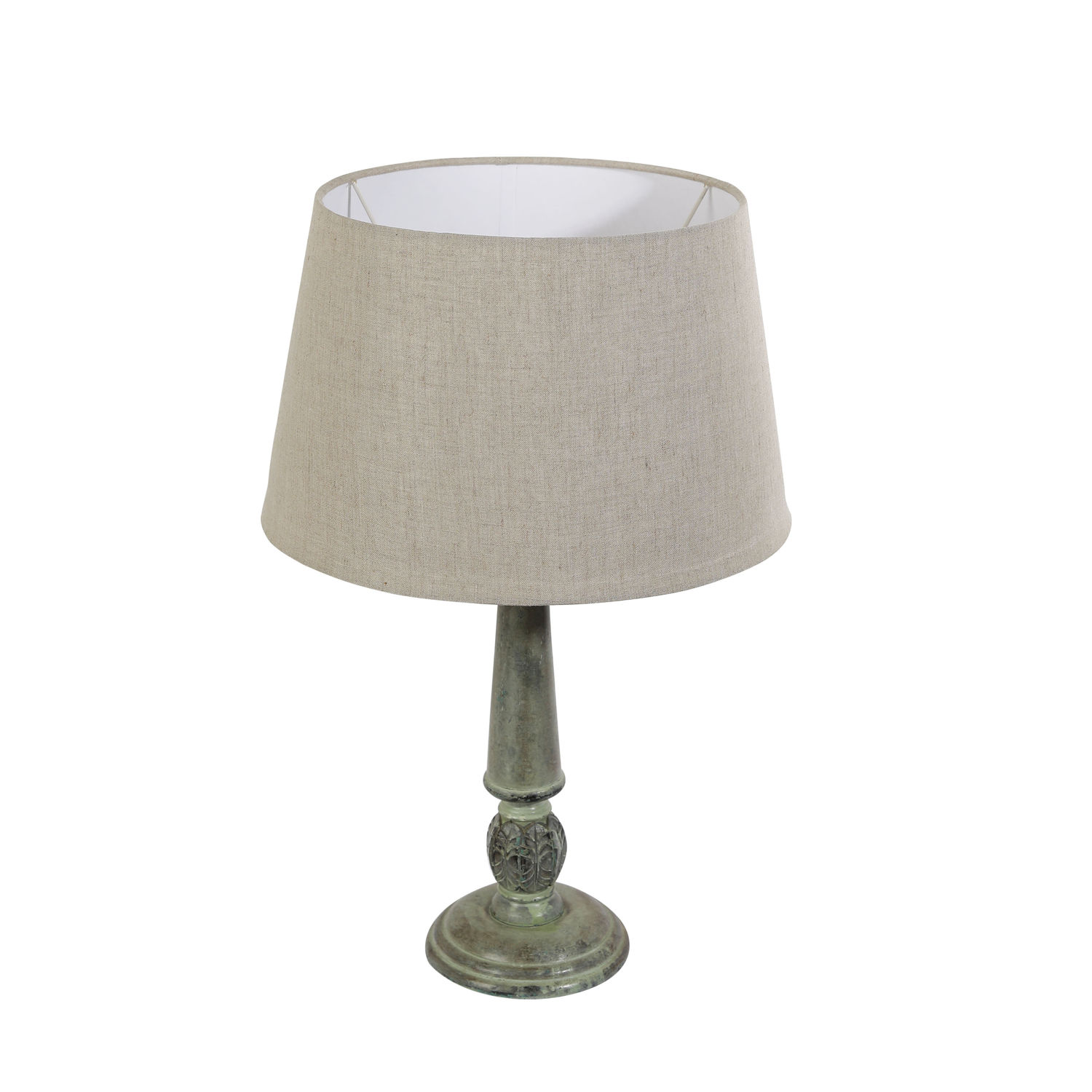 The Decor Mart Off White Shade With Wooden Base Lamp 14