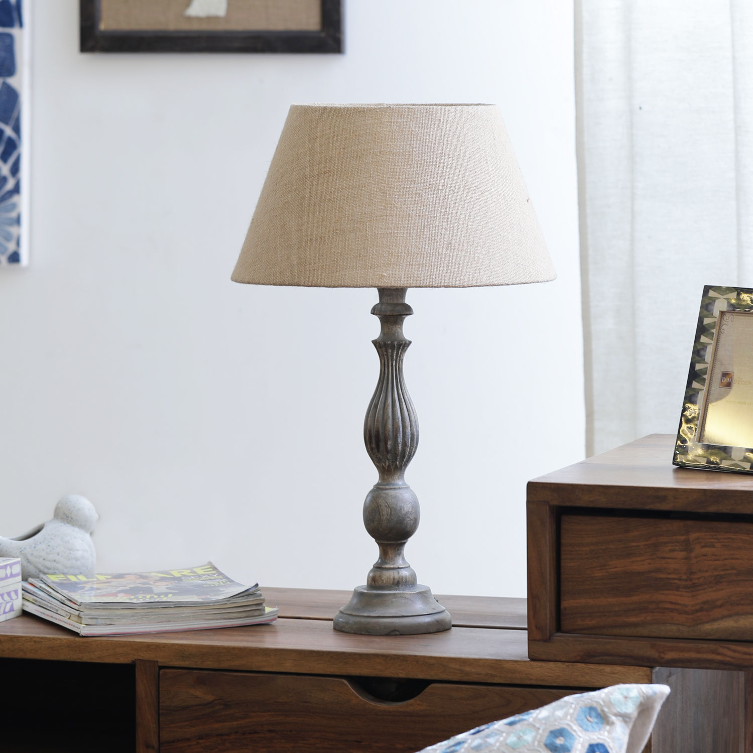 The Décor Mart Beige Shade With Wooden Base Table Lamp 13 5 X