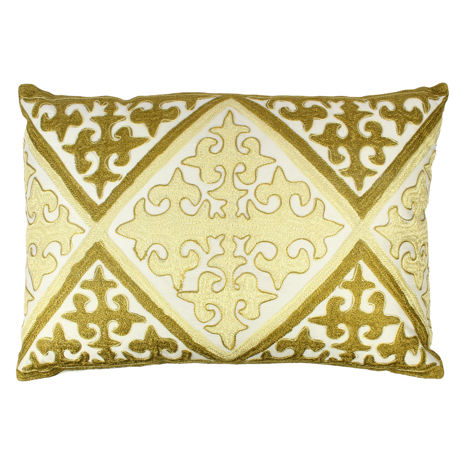 Decor Mart Cushion Cover Polyester Embroidered Off White Green 13 X 19 Inch