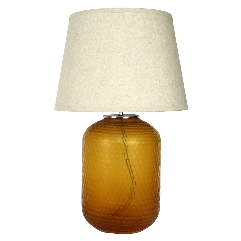 Decor mart table lamp honeycomb glass amber colour with cotton decor mart table lamp honeycomb glass amber colour with cotton cream colour shade aloadofball Image collections