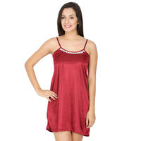 Secret Wish Women's Satin Maroon Babydoll Dress (Maroon, Free Size)