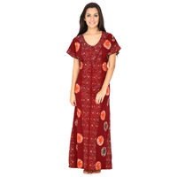 Secret Wish Women's Cotton Maroon Nighty, Nightdress (Maroon, Free Size)