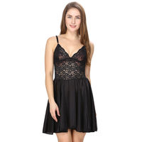 Satin and Lace Black Babydoll