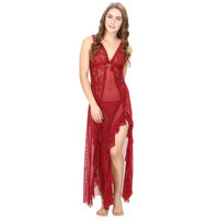 Mesh and Lace Maroon Sheer Night Dress with G-String 6b50e9d65