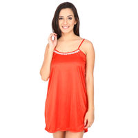 Secret Wish Women's Satin Red Babydoll Dress (Red, Free Size)