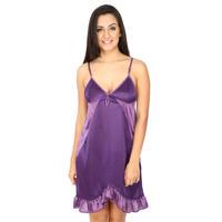 Secret Wish Women's Satin Purple Babydoll Dress (Purple, Free Size)