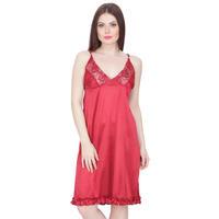 Secret Wish Women's Satin Babydoll Dress (Maroon, Free Size)