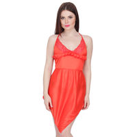 Secret Wish Women's Satin Babydoll Dress (Red, Free Size)