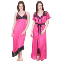 Secret Wish Women's Satin Nighty with Robe (Pink, Free Size)