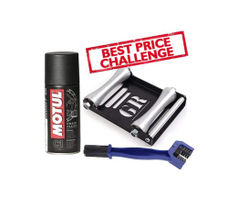 Free Chain Cleaning Brush with Motul C1 Chain Clean (150 ml) and Paddock Stand Replacement - GRoller Large (Bikes < 270 kgs) for Chain Cleaning and Lubrication