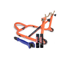 Paddock Stand Dismantable Orange with Chain Clean Brush and Motul C1 C2 400 ml