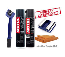 GRoller Small with Chain Clean Brush, Motul C1 C2 400 ml and Microfiber Cloth