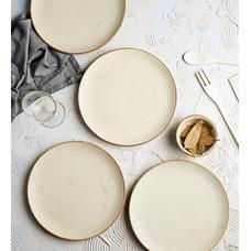 Miah Decor Ribbed Cream Stoneware Dinner Plates   Set Of 4
