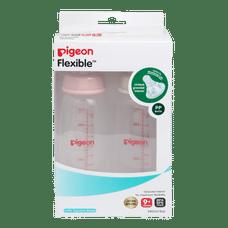 PIGEON PERISTALTIC NURSING BOTTLE TWIN PACK KPP 240ML (PINK & WHITE) NIPPLE L