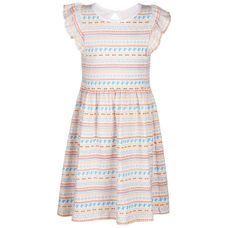 SYG BRIGHT WHITE GIRLS DRESS CR CLOCK DRS