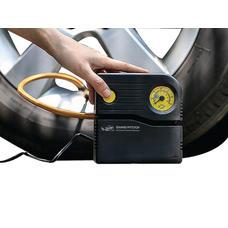 Grandpitstop Combo of Electric Tyre Inflator Air Compressor Pump & Tubeless Tyre Puncture Repair Kit with Mushroom Plugs (Mini Plug) for Car and Bike