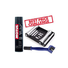 Free Chain Cleaning Brush with Motul C1 Chain Clean (400 ml) and Paddock Stand Replacement - GRoller Large (Bikes < 270 kgs) for Chain Cleaning and Lubrication