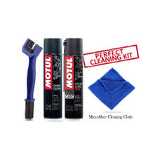 Motul Combo of C2 and C1 (400 ml) with GrandPitstop Chain Cleaning Brush and Microfiber Cloth