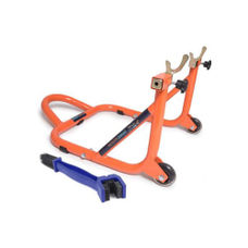 Free Chain Cleaning Brush Blue with GrandPitstop Rear Paddock Stand - Black/Orange Color