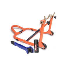 Free Chain Cleaning Brush Blue with Motul C1 Chain Clean and GrandPitstop Rear Paddock Stand - Black/Orange Color