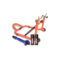 Paddock Stand Dismantlable Orange with Chain Clean Brush and Motul C1 C2 150 ml
