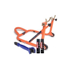 Paddock Stand Dismantlable Orange with Chain Clean Brush and Motul C1 C2 400 ml