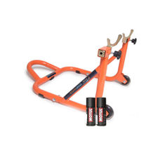 Free Motul Combo of Chain Clean C1 with Chain Lube C2 (150ml) and GrandPitstop Rear Paddock Stand - Black/Orange Color