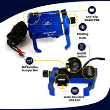 GRANDPITSTOP CLAW GRIP WITH JAW MOBILE HOLDER WITH CHARGER (ALUMINIUM)- BLUE