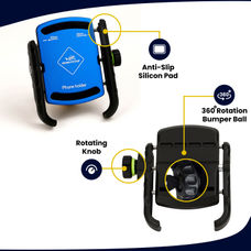 GRANDPITSTOP JAW GRIP MOBILE HOLDER WITHOUT CHARGER (ALUMINIUM)- BLUE