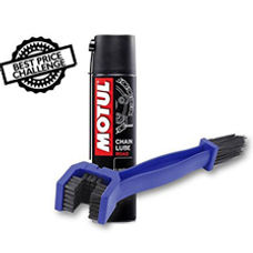 Chain Cleaning Brush with Motul Chain Lube C2 400 ml
