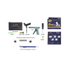 Gun Puncture Repair Kit with Tyre Air Pressure Gauge