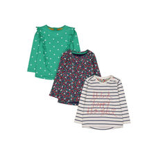 Stripe, Spot And Floral T-Shirts - 3 Pack